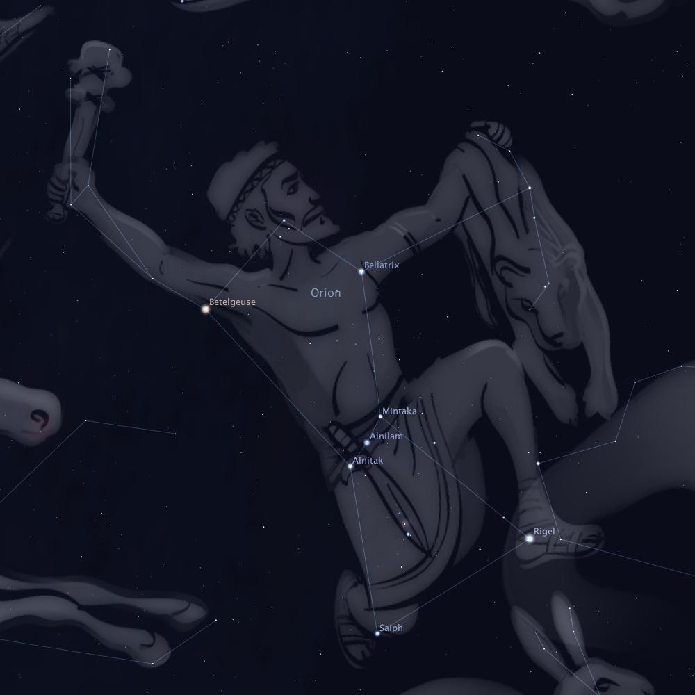 Constellation d'Orion - Crédit image : Stellarium