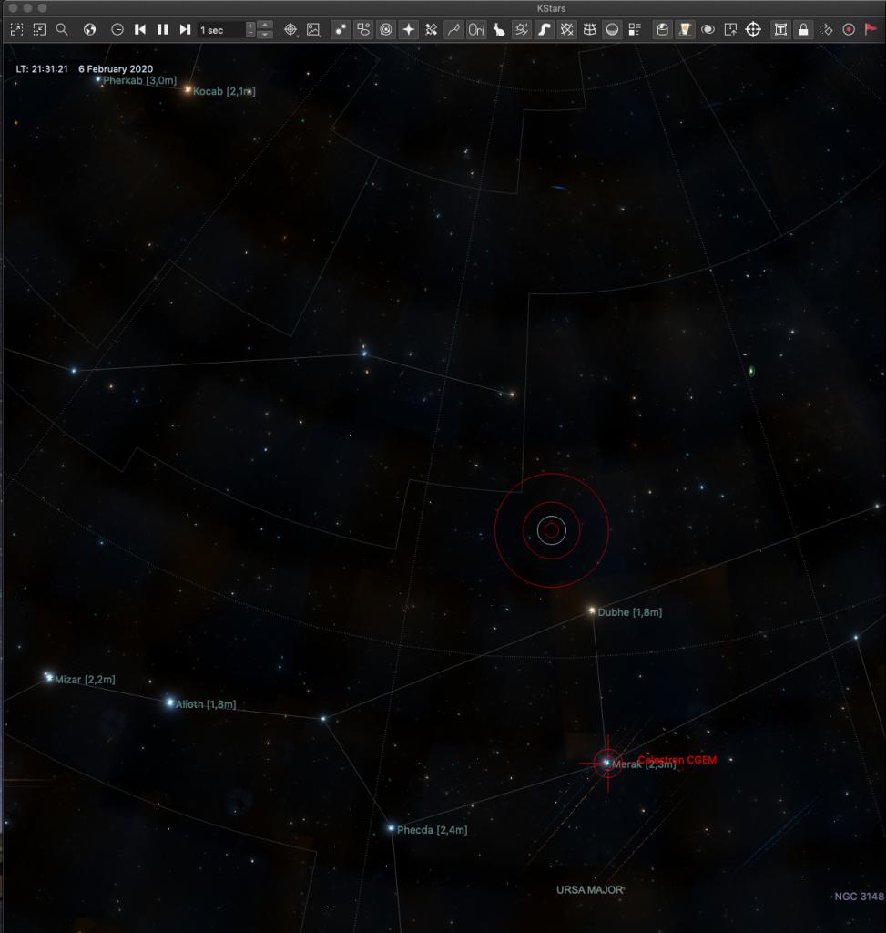 Capture d'écran du logiciel KStars lors de l'acquisition du spectre de l'étoile de référence (Merak) en vue de la réduction du spectre de Phecda.