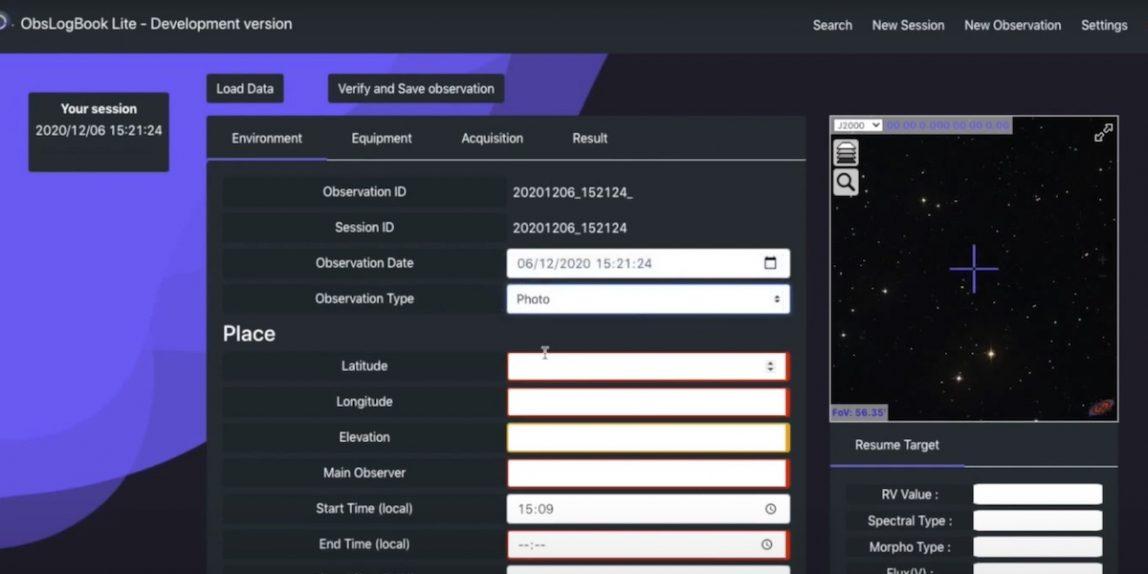 ObsLogBook - Capture d'écran