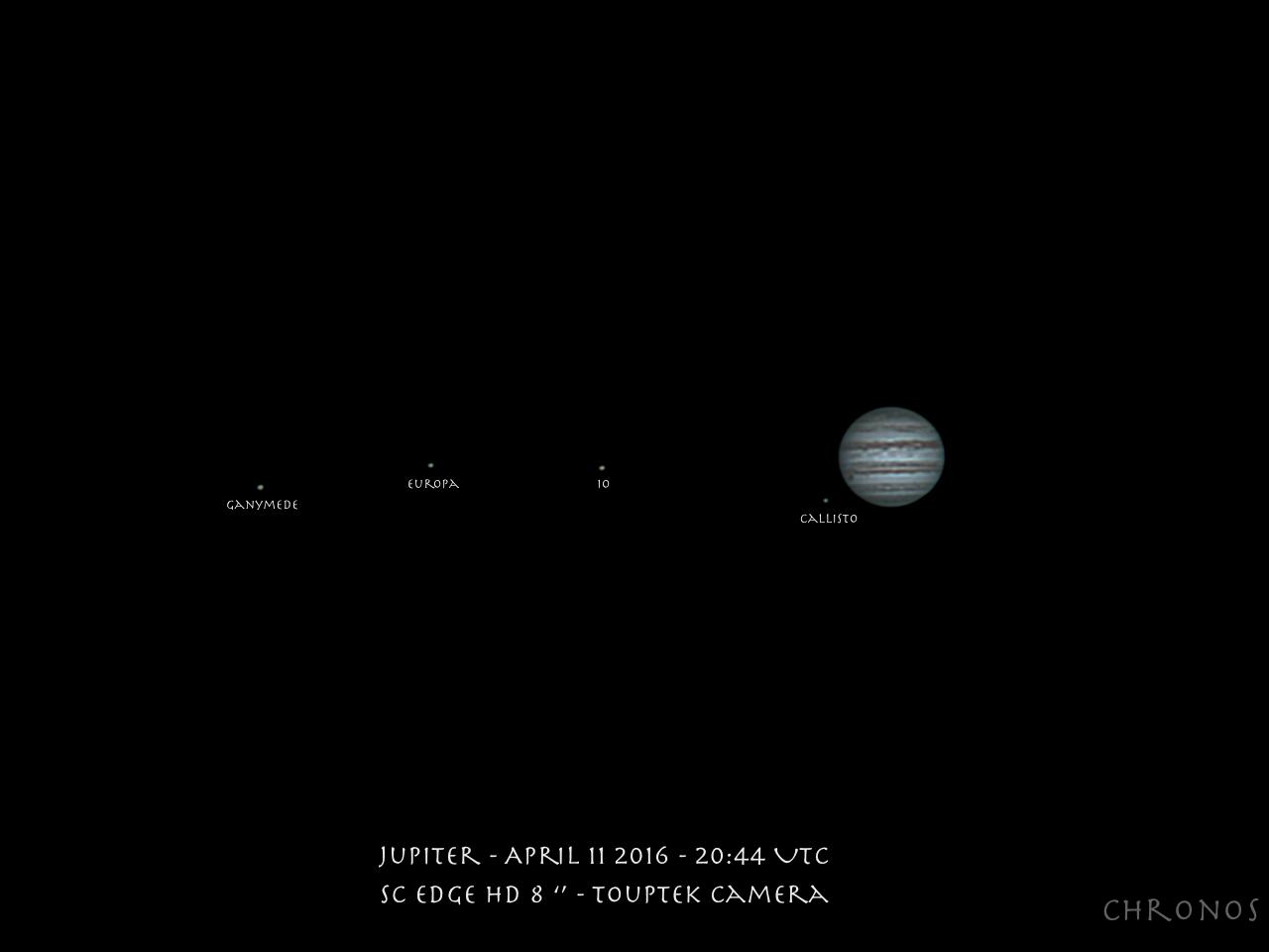Jupiter et ses satellites - 04/2016