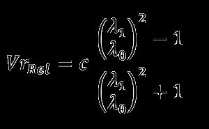 Calcul de la vitesse radiale en tenant compte de l'effet de vitesse relativiste