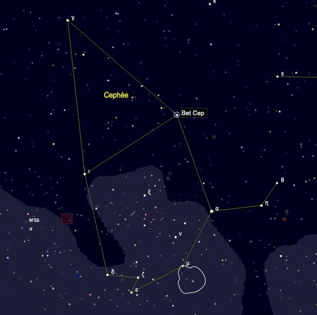 Position de l'étoile beta Cephei (Alphirk) dans la constellation de Céphée (Image Skychart)